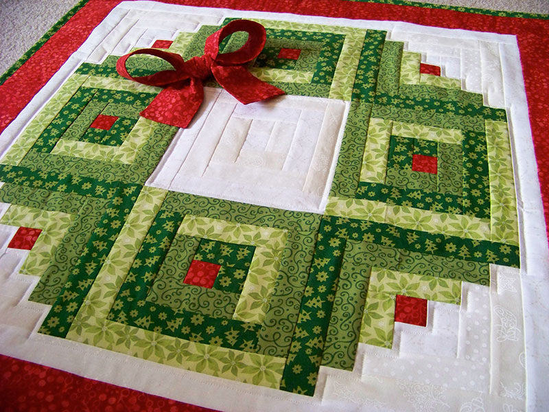 Log Cabin Wreath Wall Hanging Plus Bonus Table Runner Idea